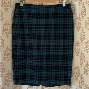 Merona stretch plaid teal pencil skirt 10